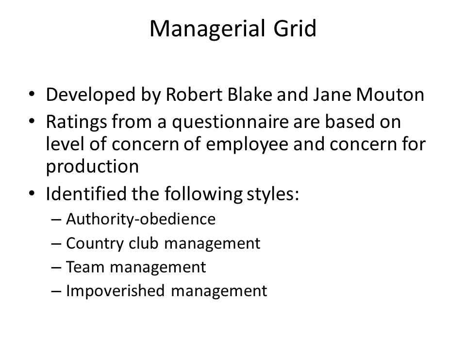 Managerial Grid Developed by Robert Blake and Jane Mouton