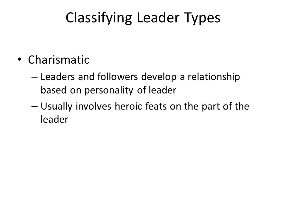 Classifying Leader Types