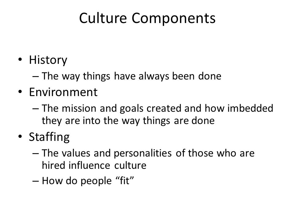 Culture Components History Environment Staffing