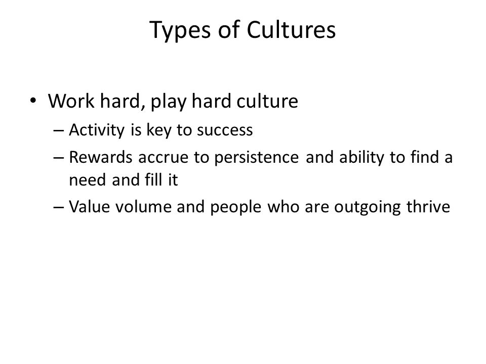 Types of Cultures Work hard, play hard culture