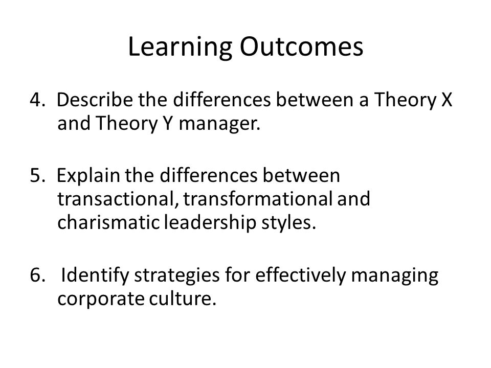 Learning Outcomes 4. Describe the differences between a Theory X and Theory Y manager.