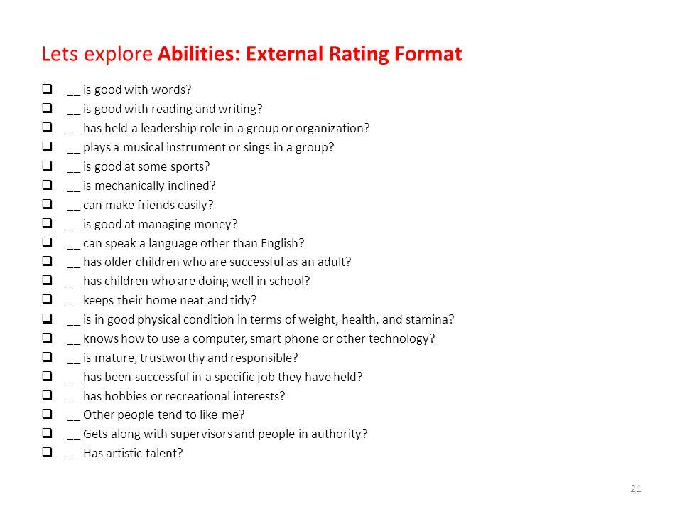 Lets explore Abilities: External Rating Format