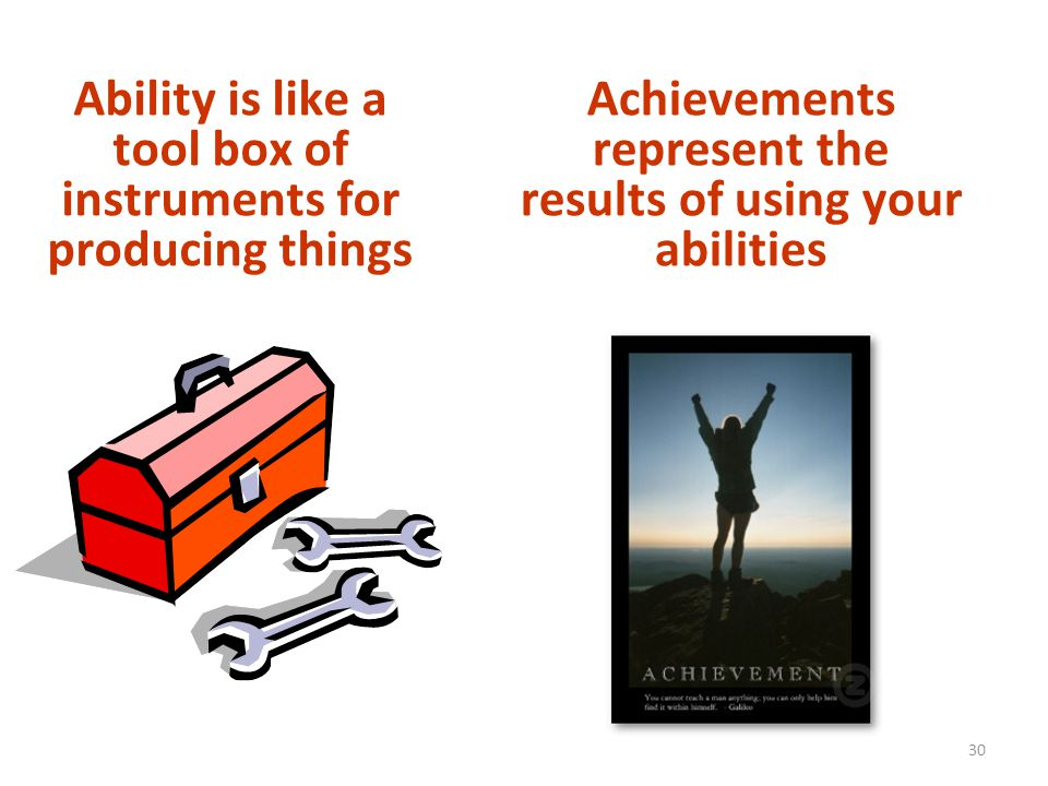 Ability is like a tool box of instruments for producing things