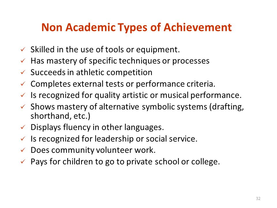 non academic achievement Academic achievement and the implementation of school-wide  second, we consider relationships between school-wide positive behavior support and improved.