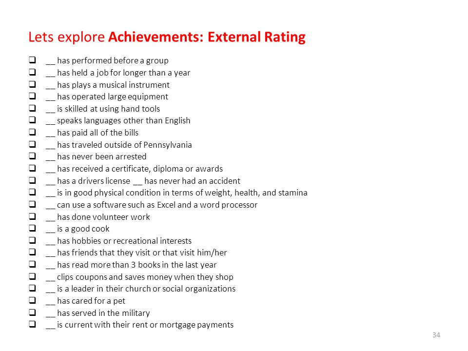 Lets explore Achievements: External Rating