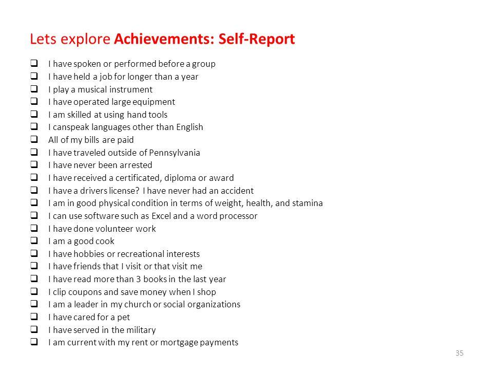 Lets explore Achievements: Self-Report