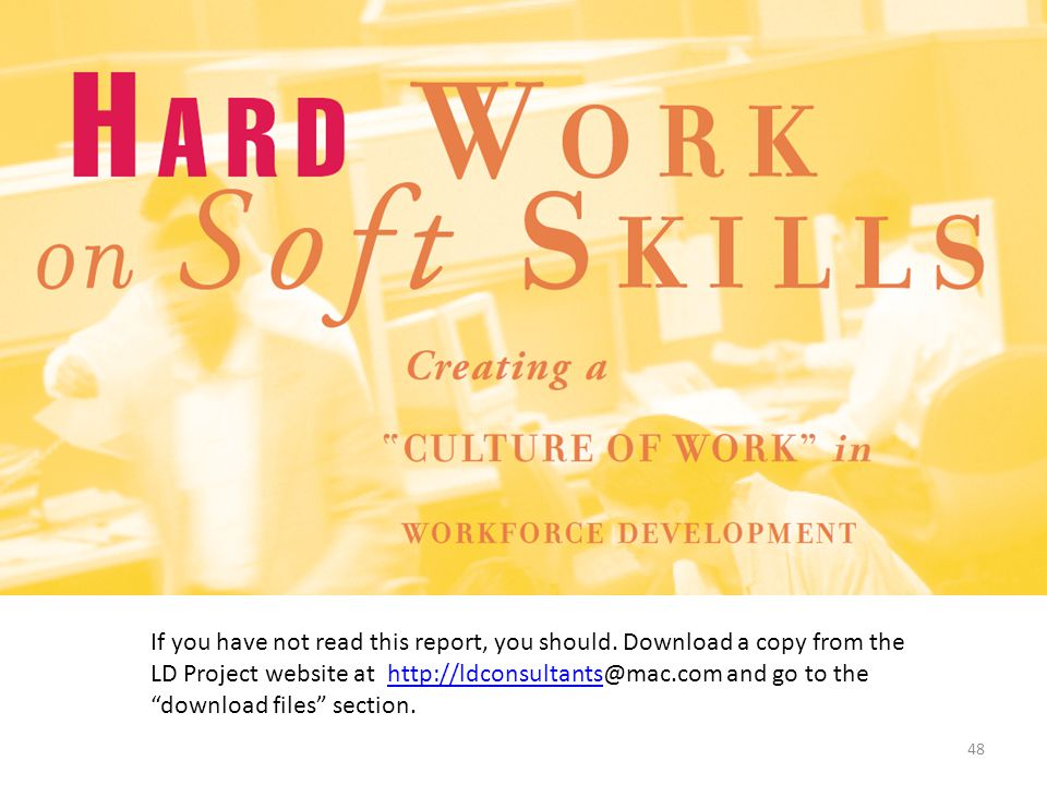 The document shown in the slide provides a very comprehensive review soft skills as they relate to employment.
