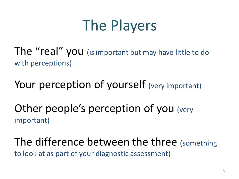 The Players The real you (is important but may have little to do with perceptions) Your perception of yourself (very important)