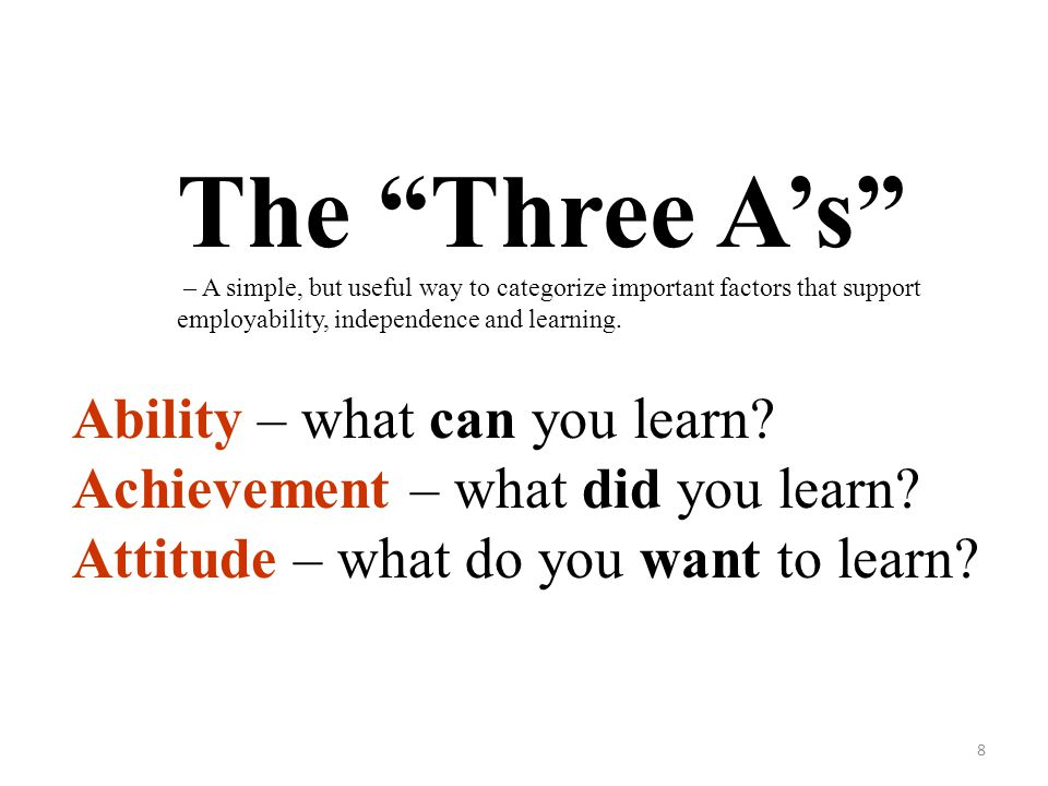 The Three A's Ability – what can you learn