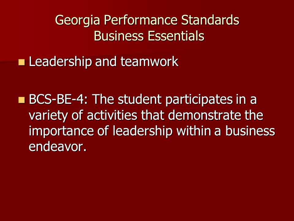 Georgia Performance Standards Business Essentials