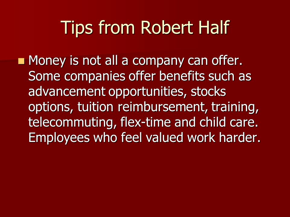 Tips from Robert Half