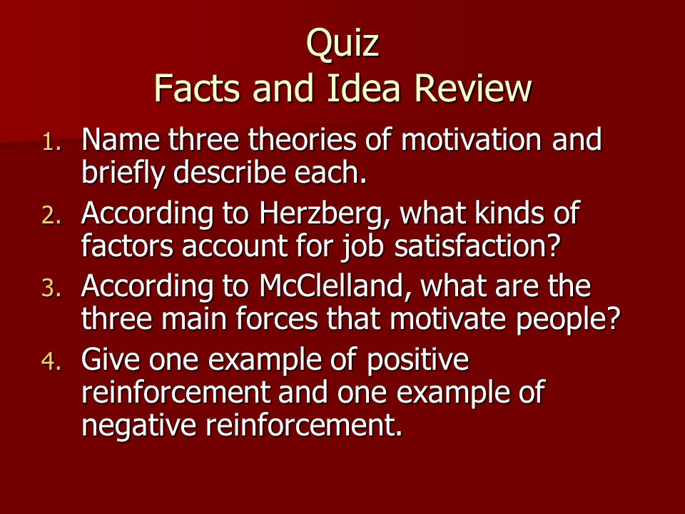 Quiz Facts and Idea Review