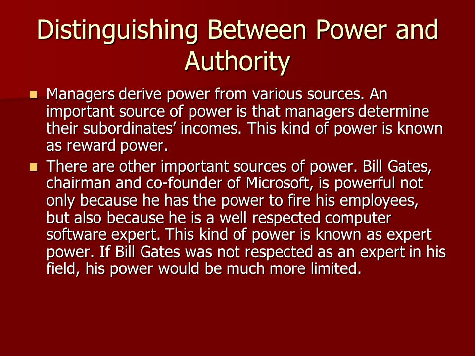 Distinguishing Between Power and Authority