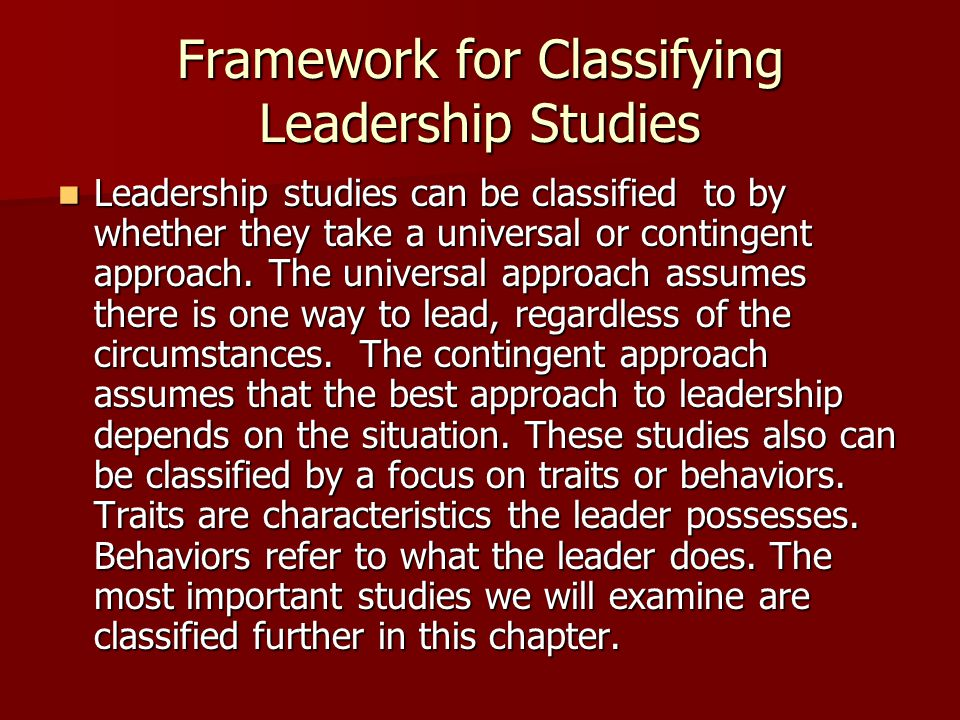 Framework for Classifying Leadership Studies