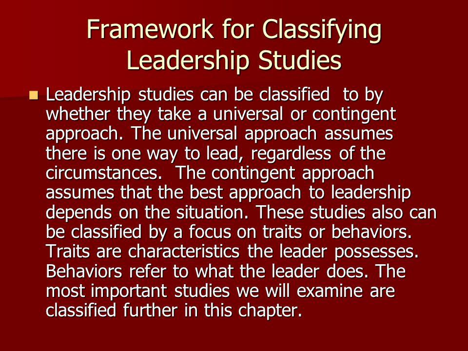 Framework for Classifying Leadership Studies