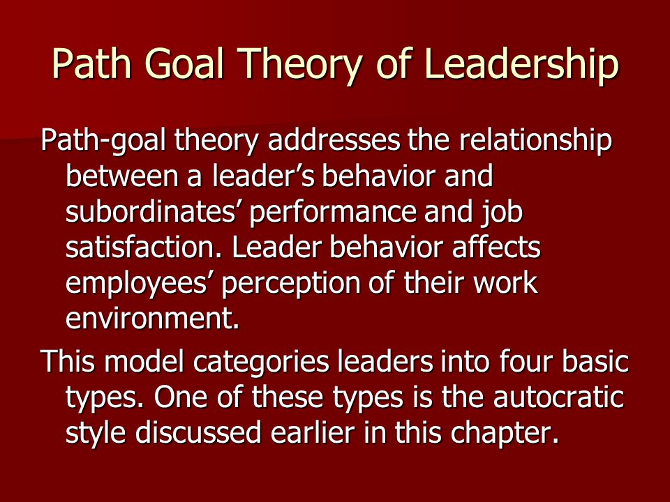 Path Goal Theory of Leadership