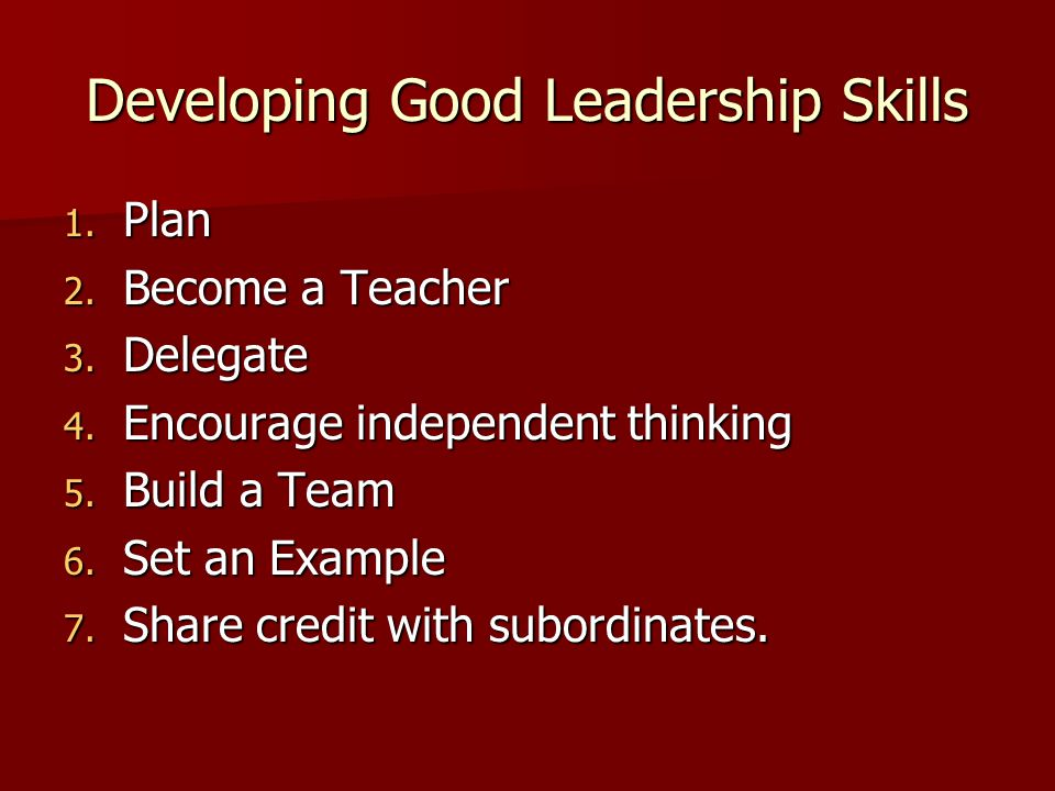 Developing Good Leadership Skills