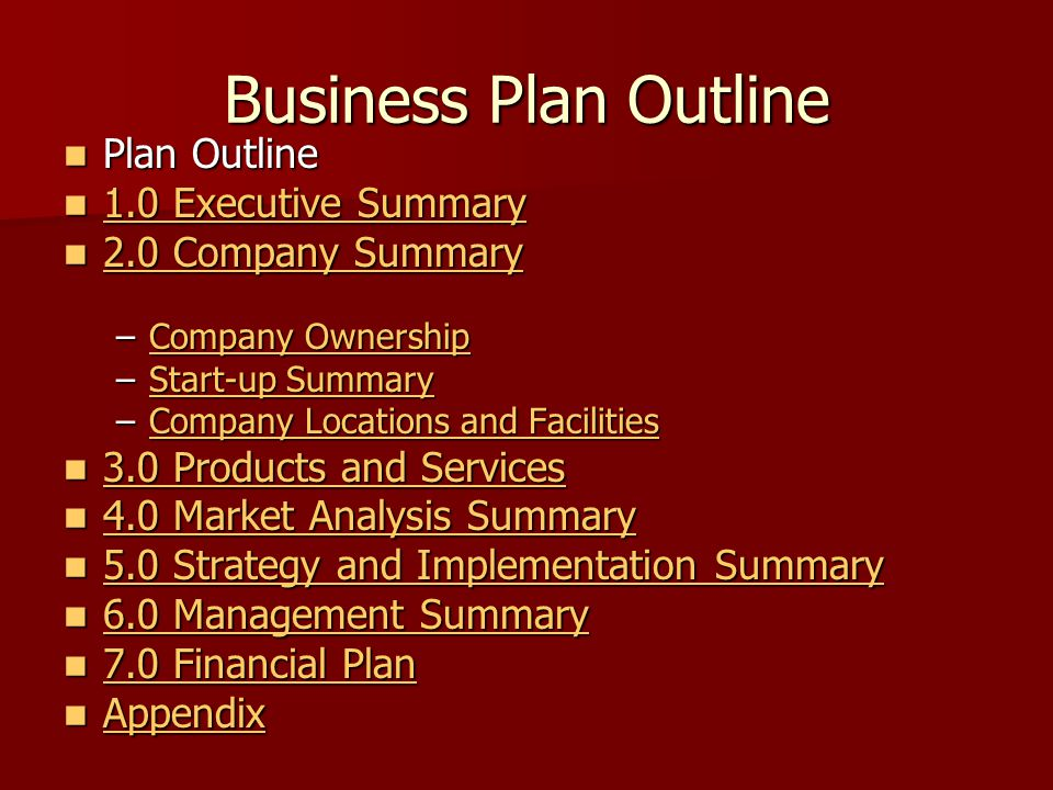 Business Plan Outline Plan Outline 1.0 Executive Summary