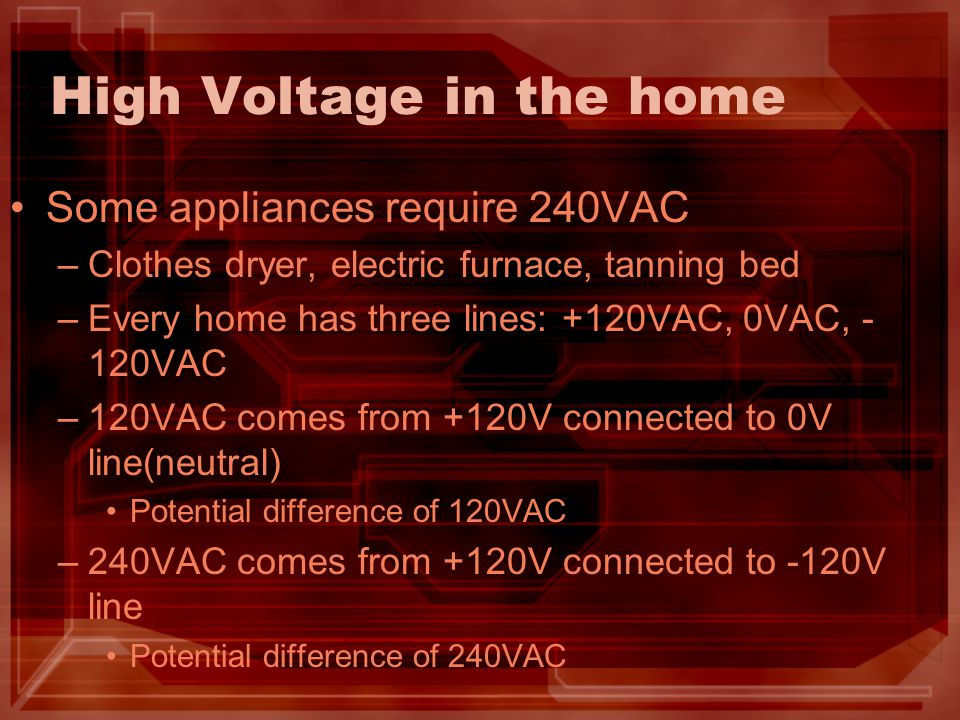 High Voltage in the home