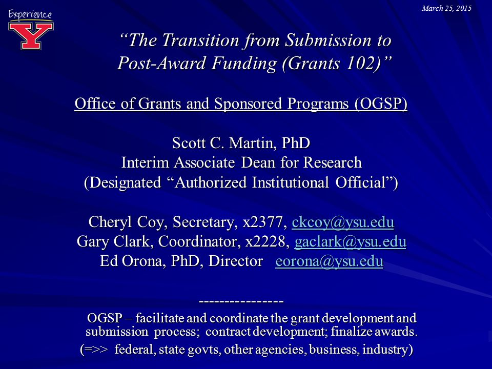 The Transition from Submission to Post-Award Funding (Grants 102)