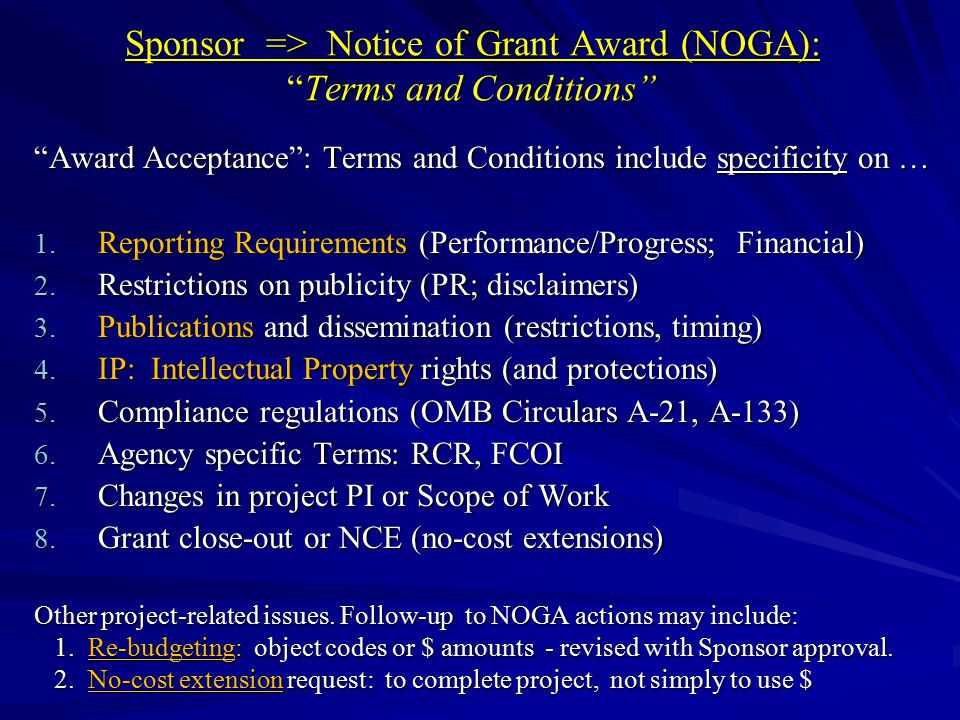 Sponsor => Notice of Grant Award (NOGA): Terms and Conditions