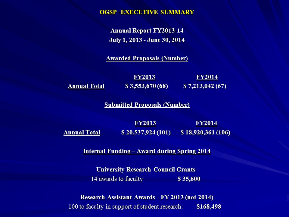 OGSP -EXECUTIVE SUMMARY Annual Report FY2013-14