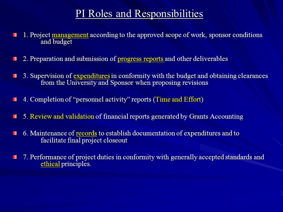 PI Roles and Responsibilities