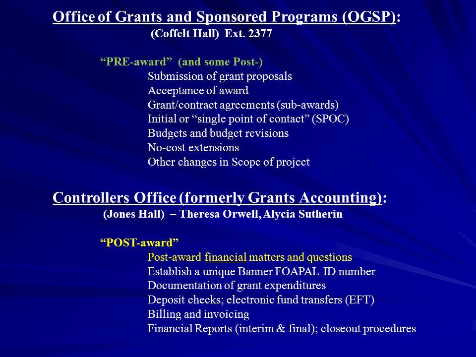 Office of Grants and Sponsored Programs (OGSP):