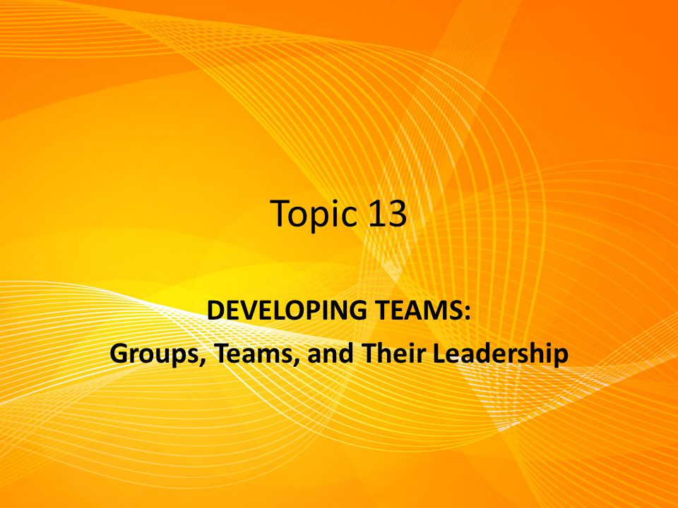 DEVELOPING TEAMS: Groups, Teams, and Their Leadership
