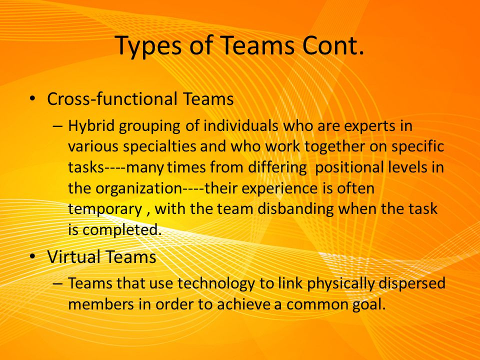Types of Teams Cont. Cross-functional Teams Virtual Teams