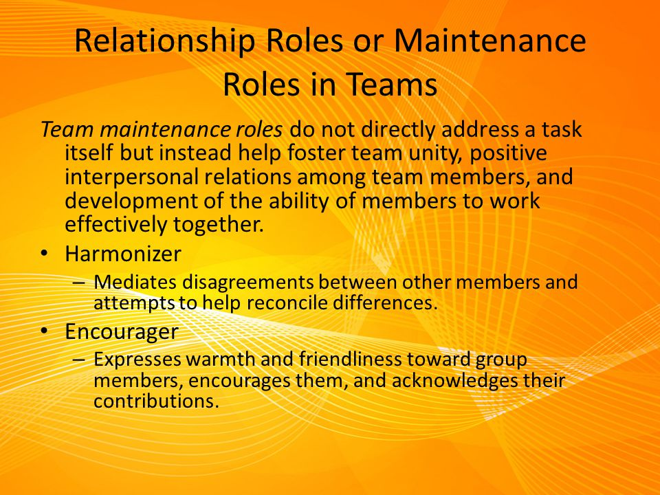 Relationship Roles or Maintenance Roles in Teams