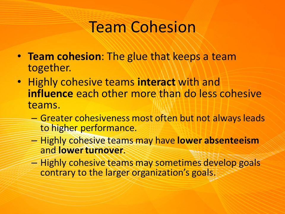 Team Cohesion Team cohesion: The glue that keeps a team together.