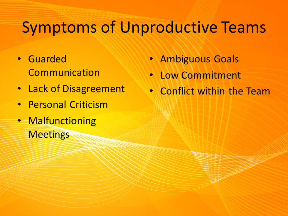 Symptoms of Unproductive Teams