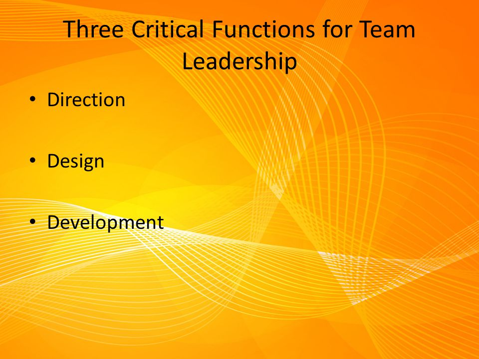 Three Critical Functions for Team Leadership