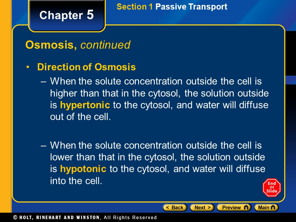 Chapter 5 Osmosis, continued Direction of Osmosis