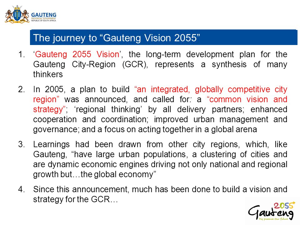 The journey to Gauteng Vision 2055