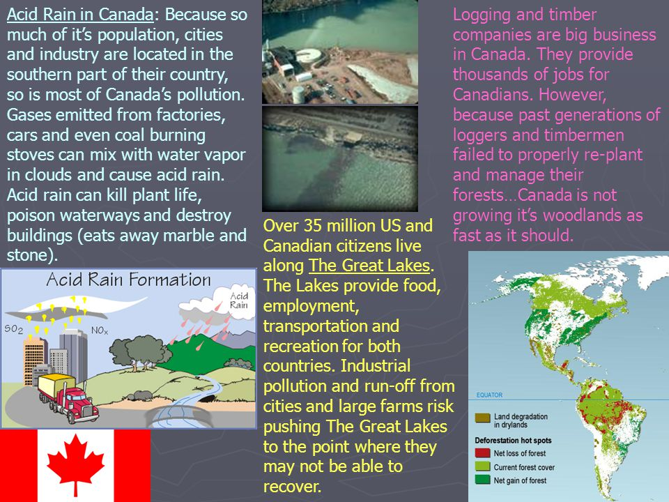 Acid Rain in Canada: Because so much of it's population, cities and industry are located in the southern part of their country, so is most of Canada's pollution. Gases emitted from factories, cars and even coal burning stoves can mix with water vapor in clouds and cause acid rain. Acid rain can kill plant life, poison waterways and destroy buildings (eats away marble and stone).