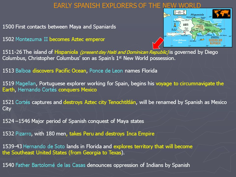 EARLY SPANISH EXPLORERS OF THE NEW WORLD