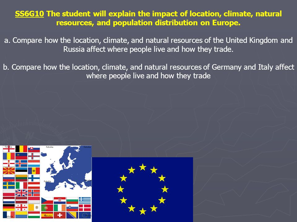 SS6G10 The student will explain the impact of location, climate, natural resources, and population distribution on Europe.
