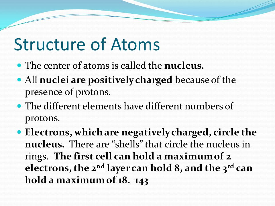 Structure of Atoms The center of atoms is called the nucleus.