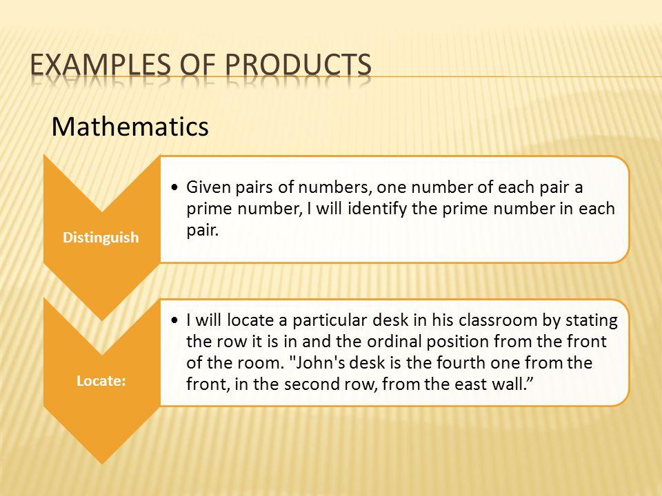 Examples of products Mathematics Distinguish Locate: