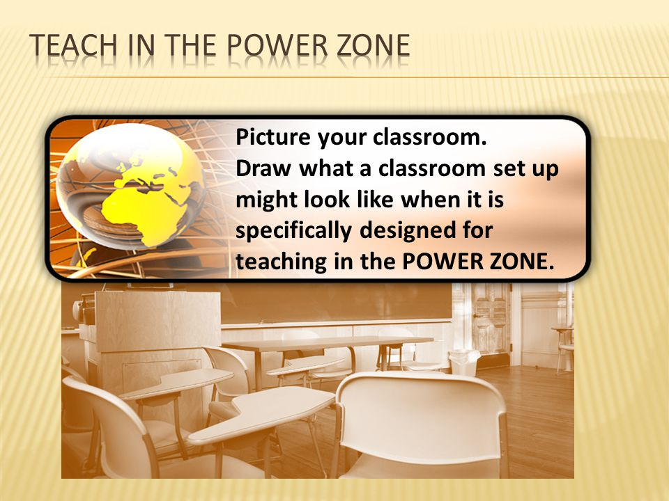 Teach in the Power Zone Picture your classroom.