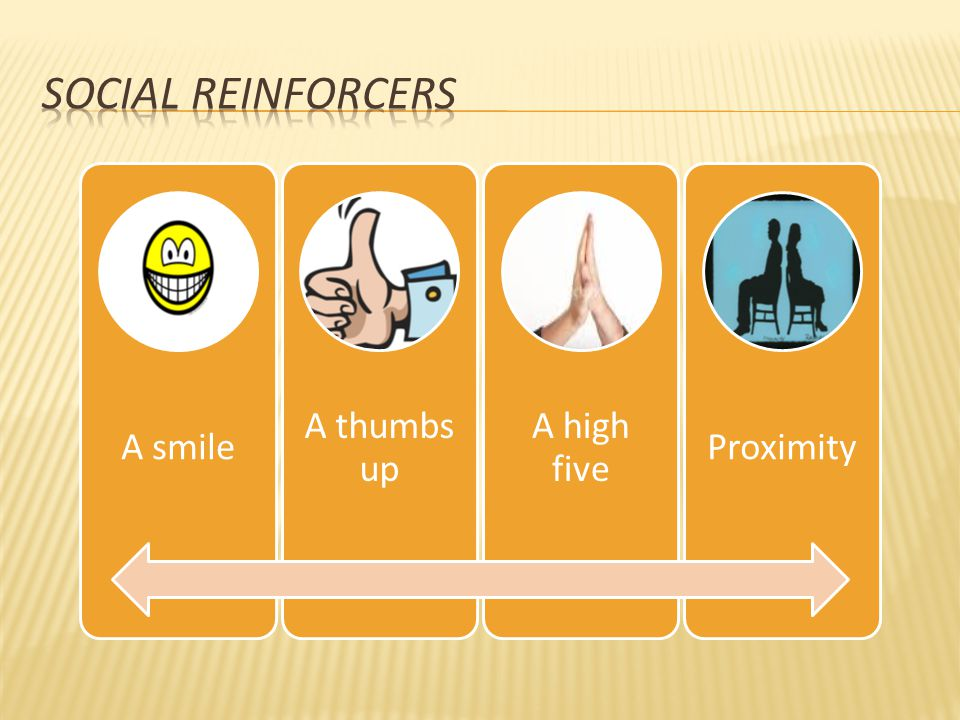 Social Reinforcers A smile. A thumbs up. A high five. Proximity.