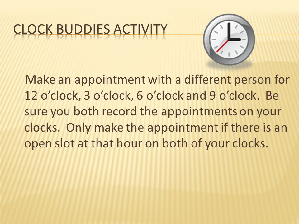 Clock Buddies ActivitY