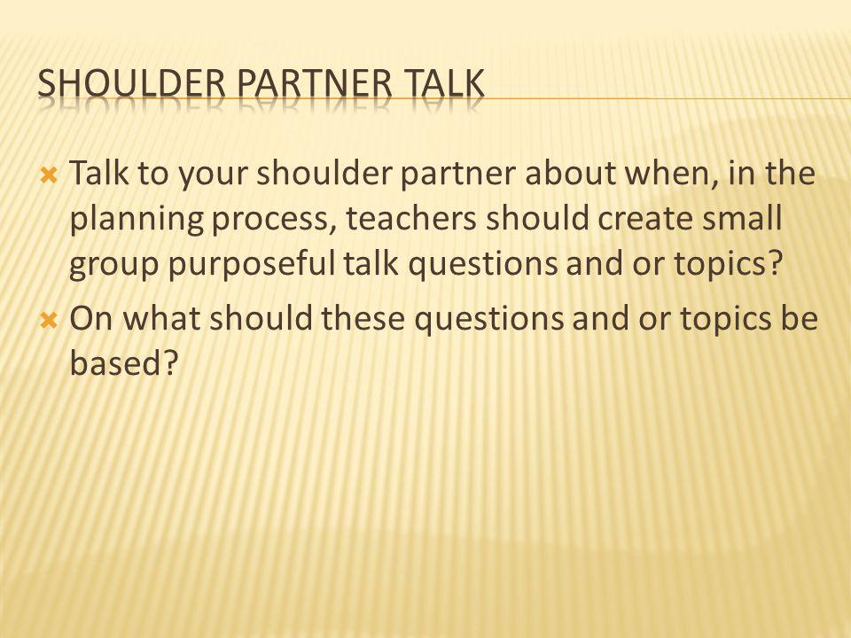 Shoulder Partner Talk