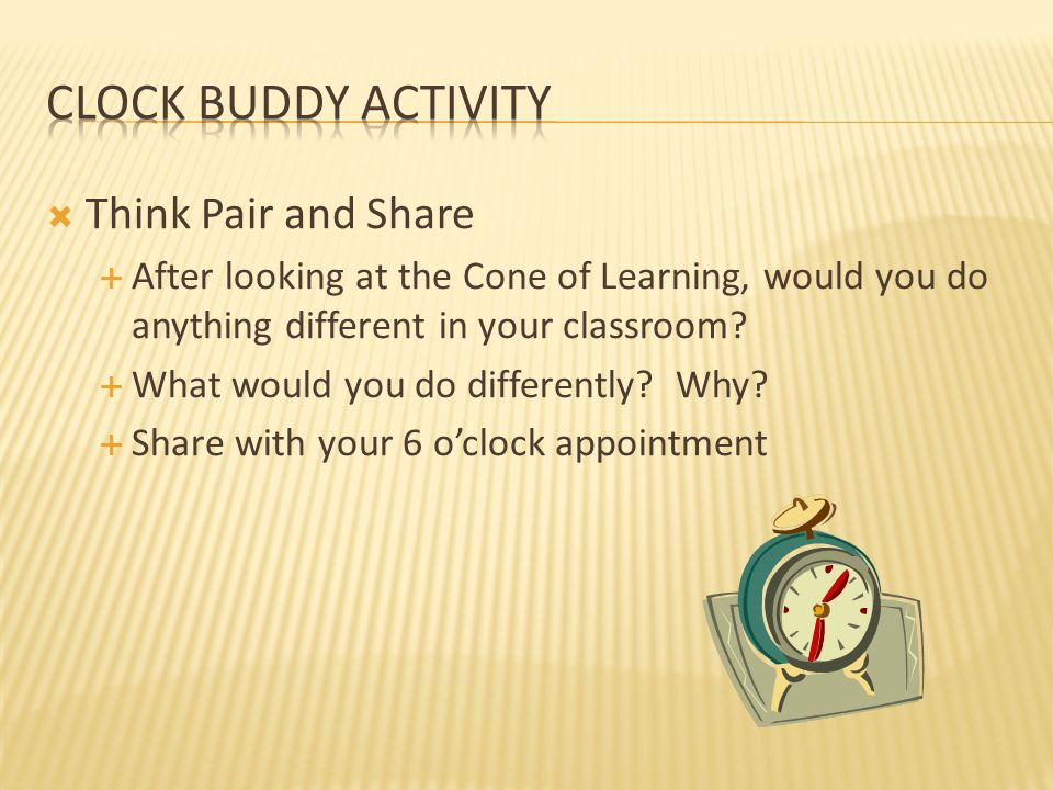 Clock Buddy activity Think Pair and Share