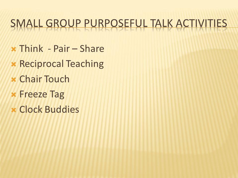 Small group purposeful Talk activities