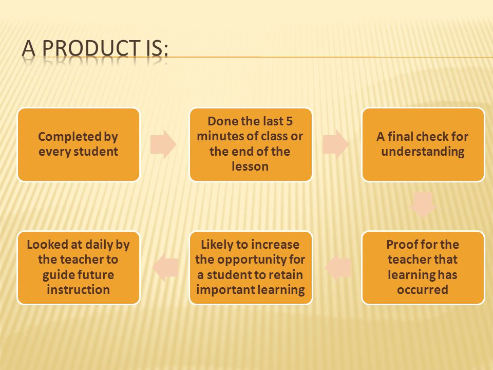 A product is: Completed by every student