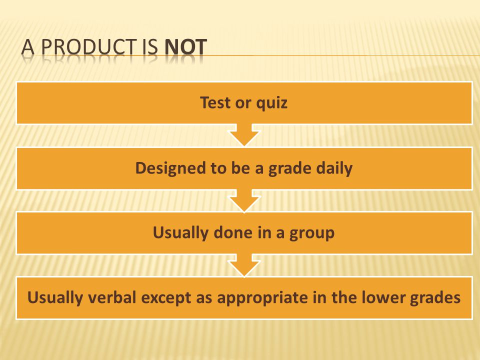 A product is not Test or quiz Designed to be a grade daily
