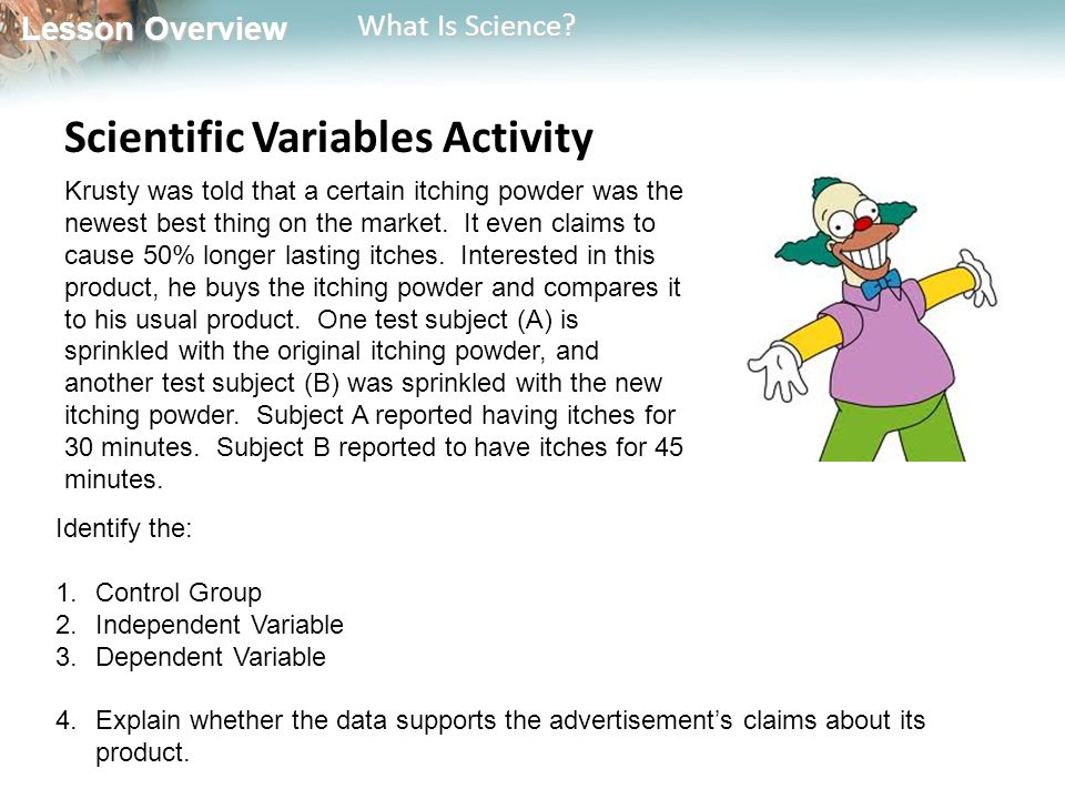Scientific Variables Activity